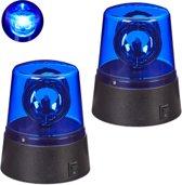 relaxdays 2x LED zwaailicht blauw - batterijen - zwaailamp - feestverlichting reflectoren