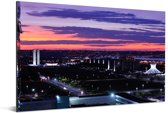 Zonsondergang boven de hoofdstad Brasília in Brazilië Aluminium 90x60 cm - Foto print op Aluminium (metaal wanddecoratie)