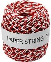 Papierkoord dikte 1 mm rood/wit 50m