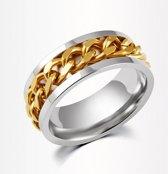 Stalen ring met goudkleurige ketting maat 20
