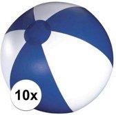 10x Opblaasbare strandbal blauw - 30 cm - strandballen