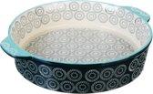 Millimi - Keramische ovenschaal rond met handgrepen - aquamarijn - 25x6cm - Keramiek