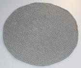 Gehaakt vloerkleed lichtgrijs, 120 centimeter