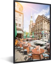 Foto in lijst - Zonnestralen in de binnenstad van Dortmund in Duitsland fotolijst zwart 40x60 cm - Poster in lijst (Wanddecoratie woonkamer / slaapkamer)