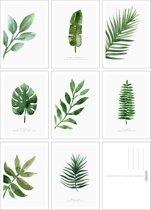 Kaartenset Botanisch - 8 stuks - A6 - Bladeren - Groen/Wit - Fabrikten