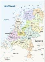 Topografische kaart van Nederland - Poster 100 x 140 cm - Landkaart