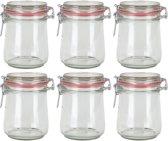 6x Weckpot/inmaakpot 720 ml met rode rubberen ring, klepdeksel en beugelsluiting - Weckpotten - Inmaakpotten - Voorraadbussen