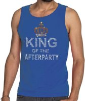 Toppers - Blauw King of the afterparty glitter steentjes singlet/ mouwloos shirt heren - Officiele Toppers in concert merchandise S