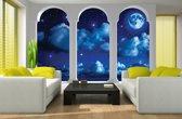 Fotobehang Papier Nacht, Modern | Blauw | 368x254cm