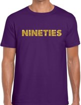 Nineties goud glitter tekst t-shirt paars heren - Jaren 90 kleding L