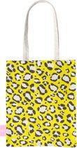 BEACHLANE - Katoenen tasje - Canvas Tote Bag Shopper - Luipaard / Leopard print Geel - Schoudertas / Boodschappen tas