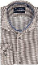 Sleeve7 Heren Overhemd Bruin Allover Ruitjes Poplin Modern Fit - 45