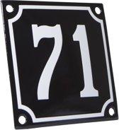 Emaille huisnummer zwart/wit nr. 70 10x10cm