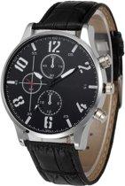 Fako® - Horloge - Geneva - Cresta - Ø 42mm - Zwart