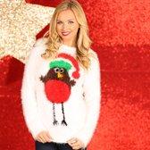 Kerstmis trui, Kerst trui voor vrouwen met een Roodborstje met Kerstmuts als foute Kersttrui, maat XS