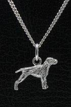 Zilveren Poedelpointer ketting hanger - klein