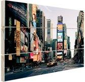 Reclameborden Times Square Hout 120x80 cm - Foto print op Hout (Wanddecoratie)