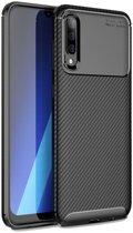 Samsung Galaxy A70 Siliconen Carbon Hoesje Zwart