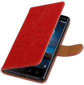 Nokia 8 Rood   Premium TPU PU Leder bookstyle / book case/ wallet case    WN™