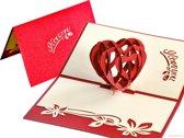 Popcards popupkaarten - Liefdeskaart I love you met groot hart, moederdag pop-up kaart