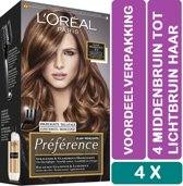 L'Oréal Paris Préférence Haarverf - 4 Middenbruin Tot Lichtbruin Haar - Haarverf - 4 Stuks Voordeelverpakking