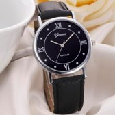 Hidzo Horloge Geneve Platinum ø 37 mm - Zwart - Kunstleer