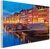 Avond in Kopenhagen Hout 160x120 cm - Foto print op Hout (Wanddecoratie) XXL / Groot formaat!