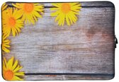 Laptop Sleeve met bloemen tot 13 inch – Geel/Bruin