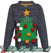 Toffe kersttrui Kids 3D kerstboom grijs 5/6 jaar