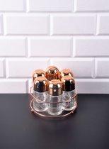 Retro - Koper kleur kruidenrek inclusief 6 kruidenpotten