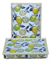 Margot Steel Laptray, Schootkussen, schoottafel, laptoptafel, dienblad met kussen Lemon en Lime met lichte houten rand - 41x31x10 cm