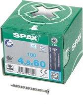 Spax Spaanplaatschroef platverzonken kop RVS pozidriv 4.5x60mm (per 100 stuks)