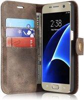 Samsung Galaxy S7 Echt Leren Portemonnee Hoesje Coffee