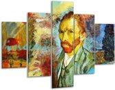 Glasschilderij Klassiek | Geel, Blauw, Bruin | 100x70cm 5Luik | Foto print op Glas |  F004850