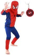 Spiderman Spinnenheld kostuum spider superheld verkleed pak super man 104-110 (S) + GRATIS tas/sleutel hanger verkleedkleding