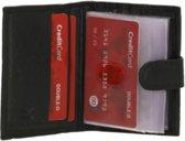 Leren Double D Creditcardhouder - Pasjeshouder - Opbergmapje - Etui voor 22 visitekaartjes en bankpasjes - Zwart