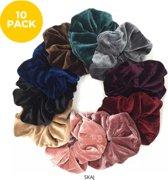 By Davids Velvet Scrunchie Haaraccessoire - 10 stuks - diverse kleuren