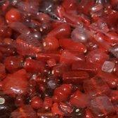 Glaskralen / kralen Rode mix ca. 1000 gram
