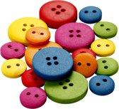 Houten knopen, d: 12-20 mm, kleuren assorti, 2-4 gaten, 360 assorti