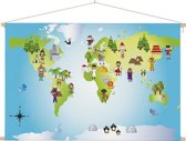 Kinder wereldkaart op schoolplaat kinderkamer 60x40 cm platte latten - Textielposter