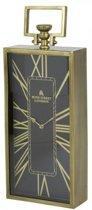 Staande klok tafelklok langwerpig hendel brons zwart goud metaal 20x10x51cm