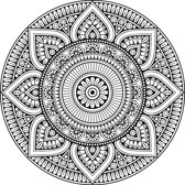 Vinyl Vloerkleed rond | Mandala zwart/wit