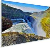 Kleurrijke omgeving bij de Gullfoss waterval in IJsland Plexiglas 60x40 cm - Foto print op Glas (Plexiglas wanddecoratie)