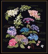Thea Gouverneur Borduurpakket 3067.05 Hortensia - Aida stof zwart 100% katoen