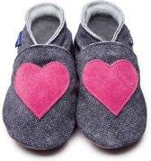 Inch Blue babyslofjes love denim shocking pink maat S (10,5 cm)