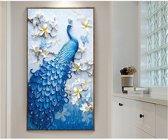 Diamond Painting Pakket Sierlijke Pauw   Blauw   Volledig   74x42 cm   Kroon Commerce