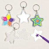 Ontwerp je eigen sleutelhangers - sterren - creatieve speelgoed voor kinderen om te maken en versieren (6 stuks)