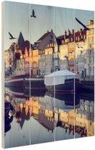 Nyhavn in de ochtend Hout 40x60 cm - Foto print op Hout (Wanddecoratie)