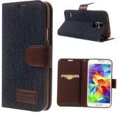 Shop4 - Samsung Galaxy S5 - Jeans Wallet Case Hoesje Donker Blauw