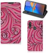 Bookcase Motorola Moto E6 Plus Swirl Pink